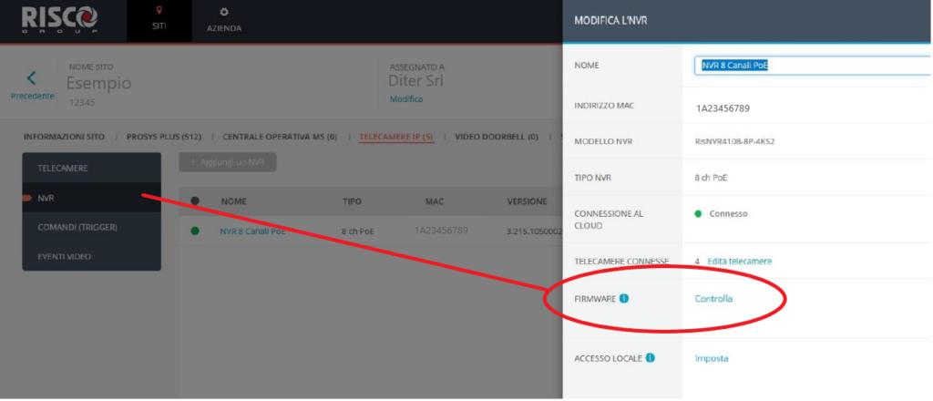 Risco Vupoint aggiornamento NVR Diter Distribuzione Sicilia